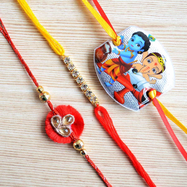 Ganesha and Krishna Kids Thread Rakhi (Set of 3) at Qtrove
