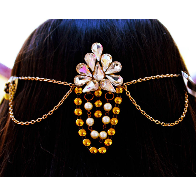 Kundan Ethnic Hair Jewelry Gold and Pearl