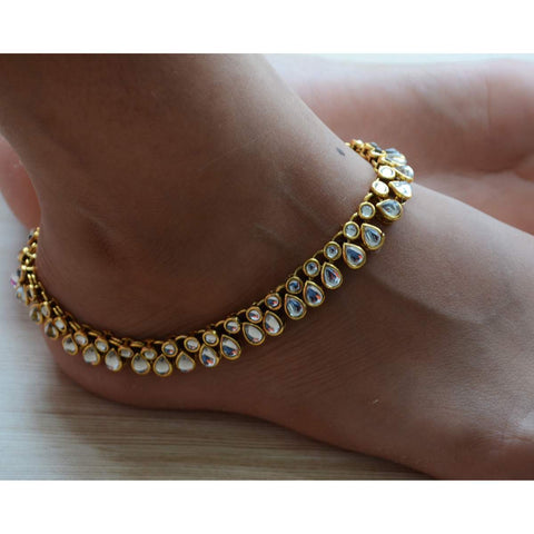 Kundan Infinity Lace Classic Anklet Or Payal For Women