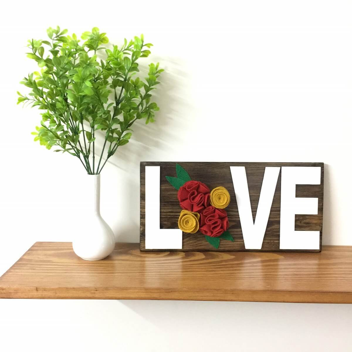 LOVE | Rustic Wood Sign with Felt Flowers
