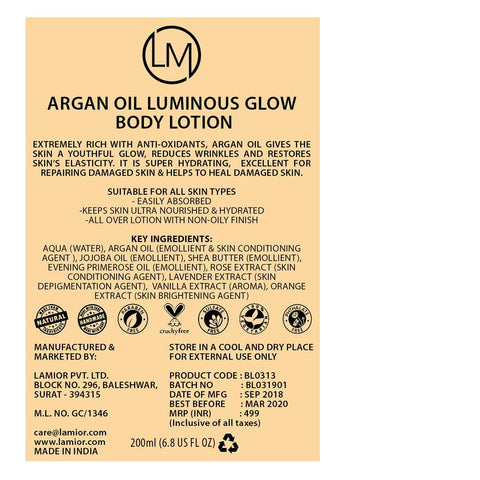 Luminous Glow Body Lotion (With Moroccon Argan Oil)