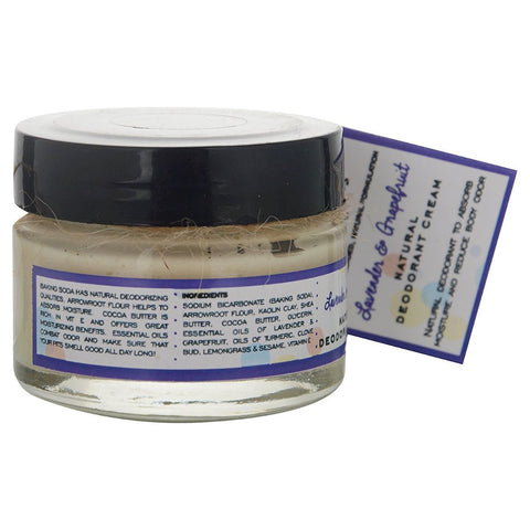 Lavender & Grapefruit Natural Deodorant Cream with Shea Butter & Cocoa Butter