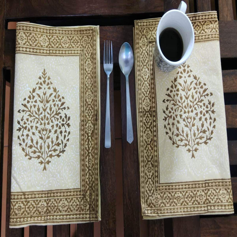 Leaf Design Brown Colour Hand Block Printed With Natural Dye Cotton Canvas Table Mat (6 Pieces)