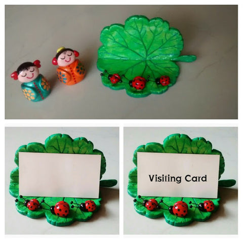 Hand Painted Visiting Card Holder (Light Green)