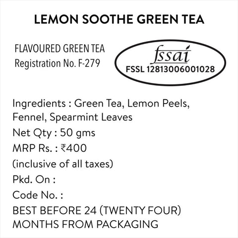 Lemon Soothe Green Tea (Natural & Pure Whole Leaf Tea)