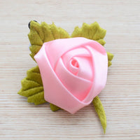 Light Pink Rose Flower Satin Velvet Hair Clip Accessory