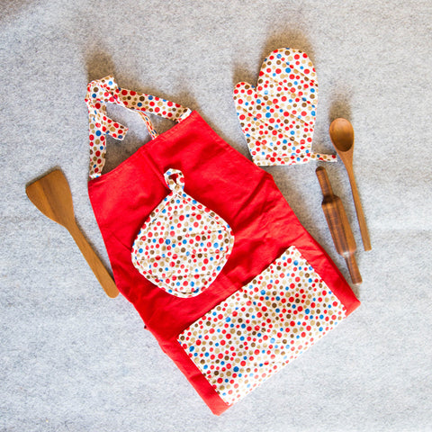 Soft Cotton Lil Chef's Apron Set (Festive Red)