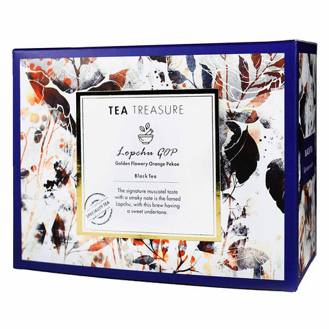 TeaTreasure Lopchu Golden Orange Pekoe Darjeeling Black Tea - 18 Pyramid Tea Bags