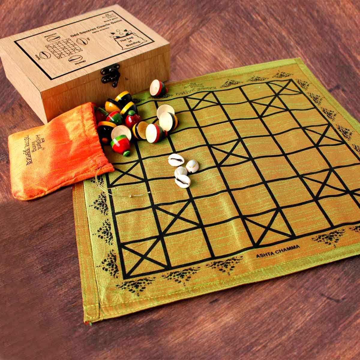 Ashta Chamma/Chowka Bara/Katta Mane/Ludo Board Game(Crafted in Raw Silk)