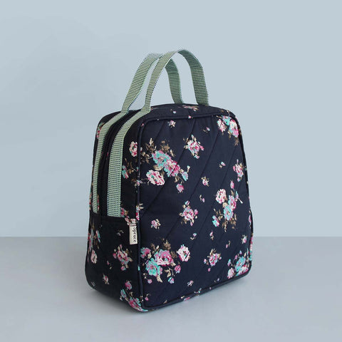 Lunch Bag (Blue Floral) (Zip Closure)