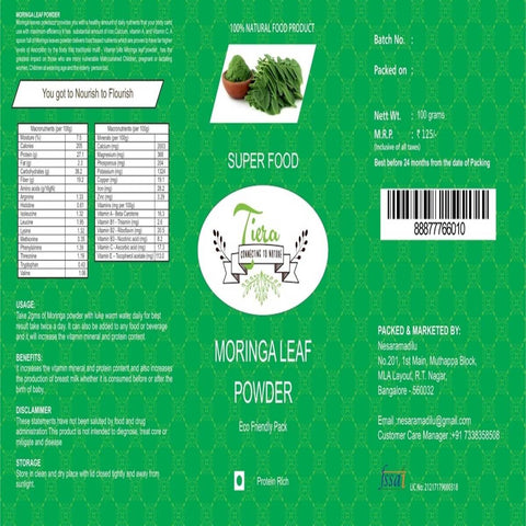 Moringa Leaf Powder (100% Natural)