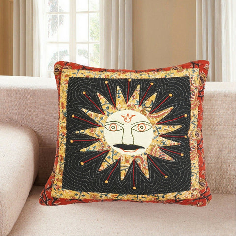 Hand Stitched Madhubani Sun Design Cushion Cover