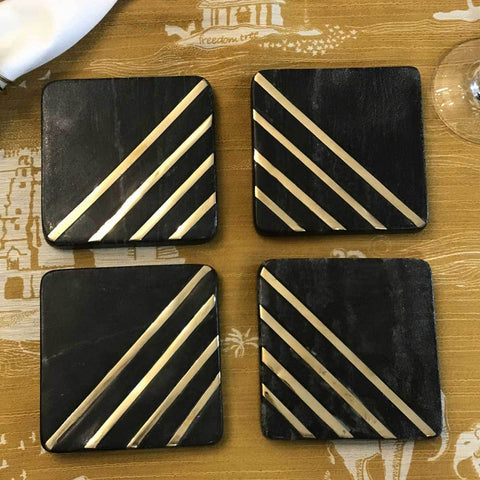 Marble Coasters With Brass Inlay (Set of 4)