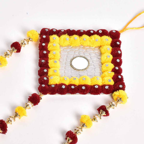Maroon & Yellow Pompomer Decorative Wall Hanging (Medium)