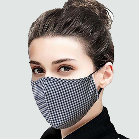 Face Mask (Black Checks) - Reusable and Washable