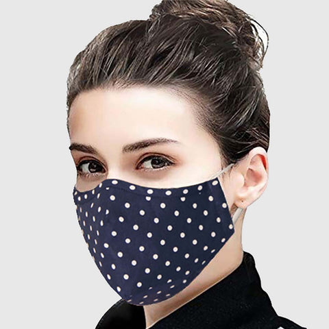 Face Mask (Navy Blue Dots) - Reusable and Washable