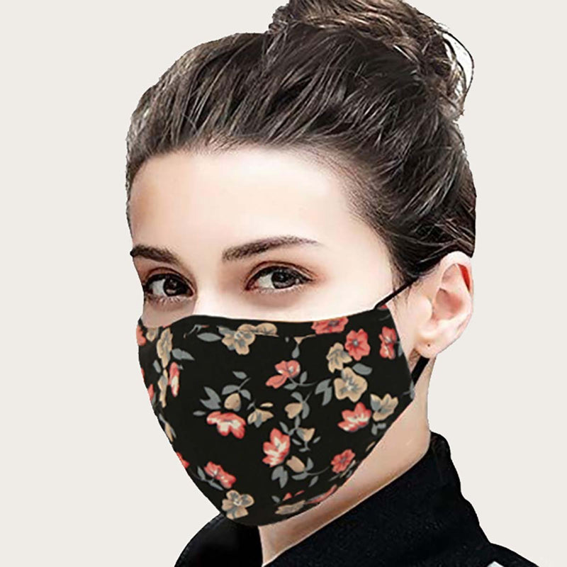 Face Mask - Pink & Black Floral (Reusable and Washable)