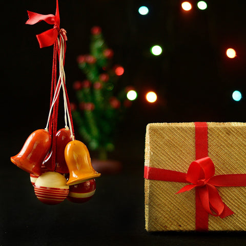 Wooden Christmas Decoration Bells And Balls Set Of 6