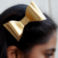 Matte Leather Metallic Hair Bow Clip Gold