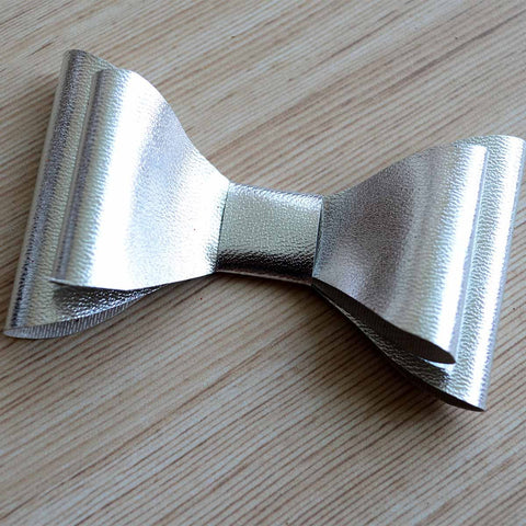 Matte Leather Metallic Hair Bow Clip Silver