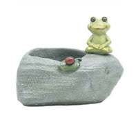Meditating Frog Resin Succulent Pot