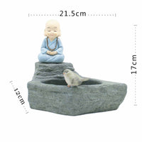 Meditating Monk Resin Succulent Pot