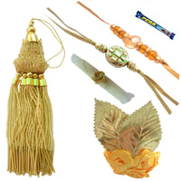 Mesmerizing Golden Kundan Designer Bhaiya Bhabhi Rakhi Set- 7 Items