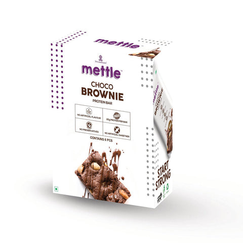 Mettle Choco Brownie Protein Bar (Pack of 6 )