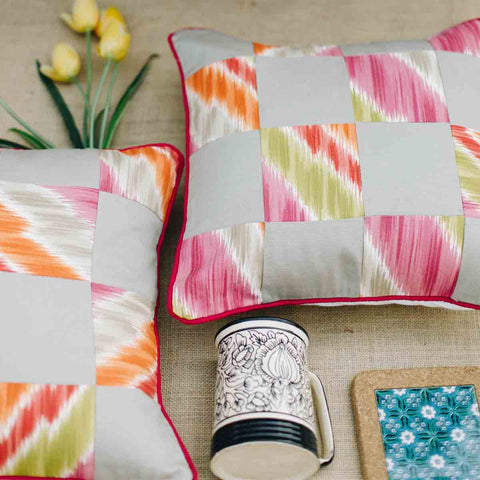 Ikat Pink Cushion Cover (Single)