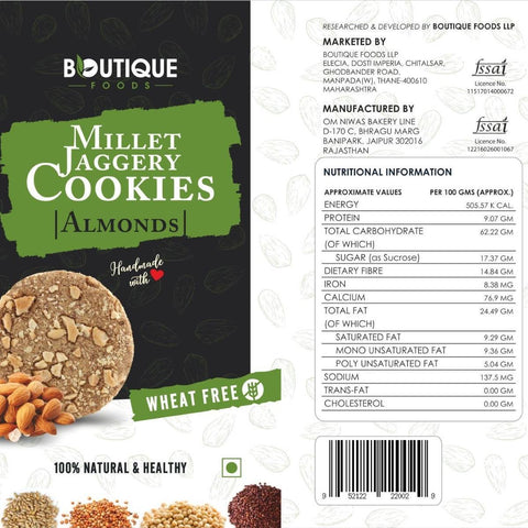 Millet Jaggery Cookie (Almond) - Pack of 2