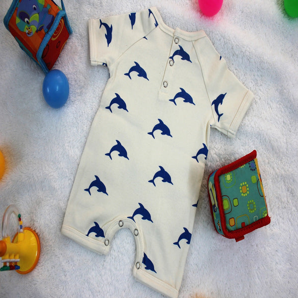 Blue Dolphin Short Baby Romper made with 100% Organic Cotton at Qtrove