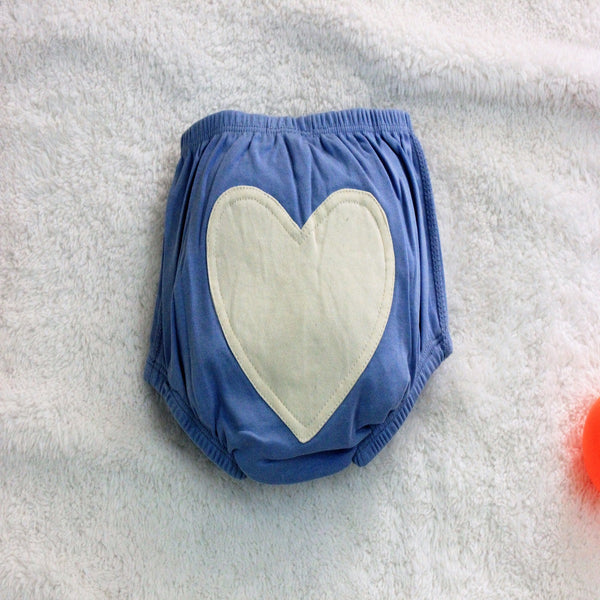 Blue Heart Baby Bloomers made with 100% Organic Cotton at Qtrove