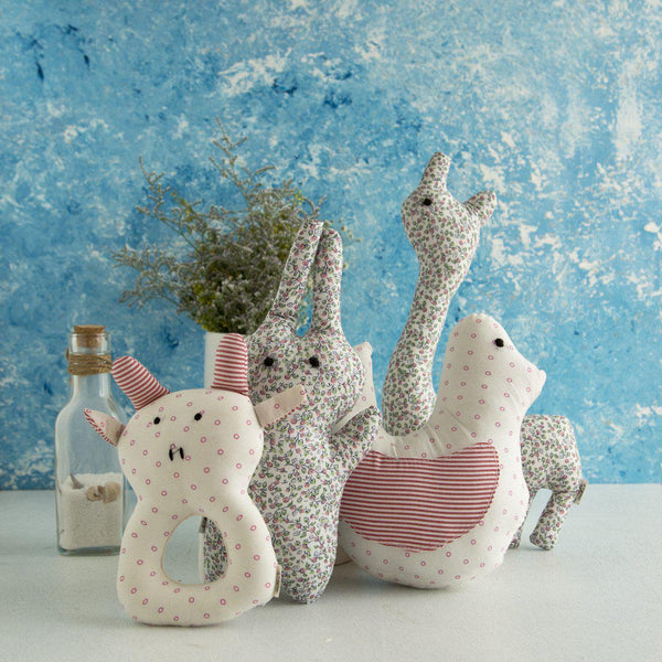 100% Cotton Fabric Animal Hand Rattles at Qtrove