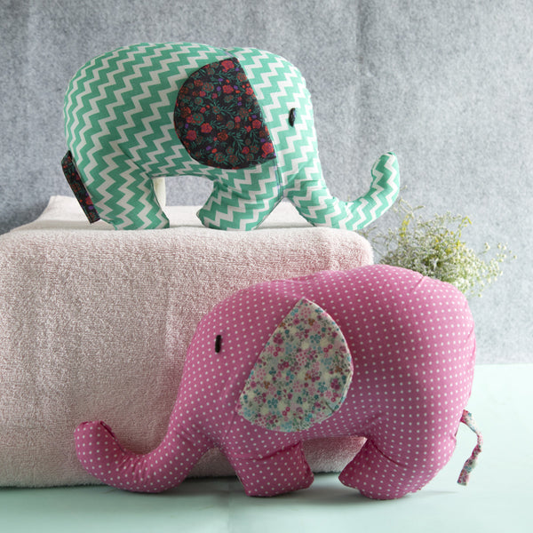 100% Cotton Fabric Elephant Pair Plush Pillows at Qtrove