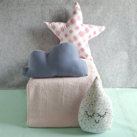 100% Cotton Fabric Sky Combo Plush Pillows (Set of 3)