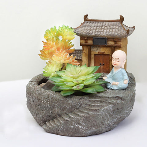 Monk With Temple Resin Succulent Pot