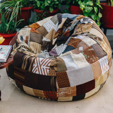 Mountain Range Brown Patchwork Beanbag Cover