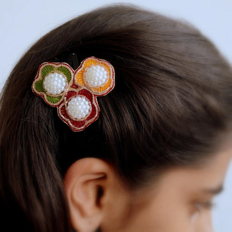 Multicolour Gold And Pearl Large Flower Hair Clip