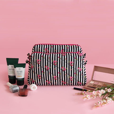 Multipurpose Pouch (Pink Floral Black Stripes) (3 Zip)