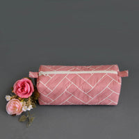 Multipurpose Pouch (Pink Geometrical) (Box Shape)