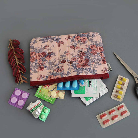 Multipurpose Pouch (Peach & Maroon Floral) (Big)