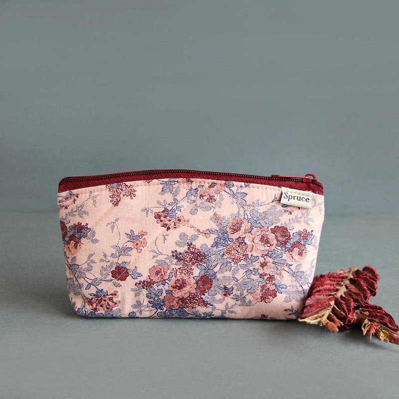 Multipurpose Pouch (Pink Floral Maroon Dots) (Big)