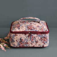 Multipurpose Pouch (Pink & Maroon Floral) (Square Vanity Pouch)