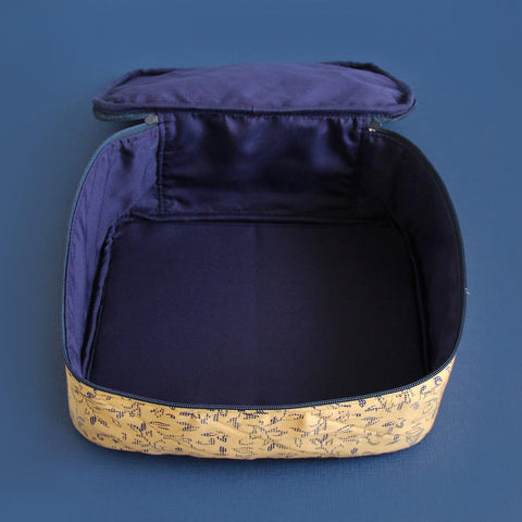 Multipurpose Pouch (Yellow and Blue Floral) (Square Vanity Pouch)