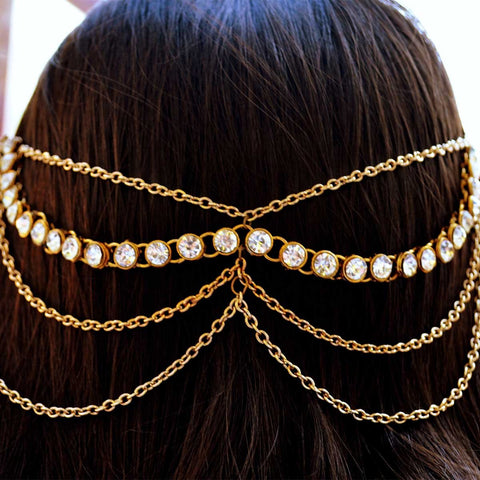 Multistrand Kundan Antique Gold Headchain Matha Patti