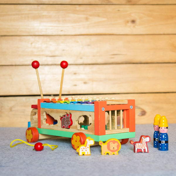 Eco-Friendly Wooden Musical Animal Truck at Qtrove