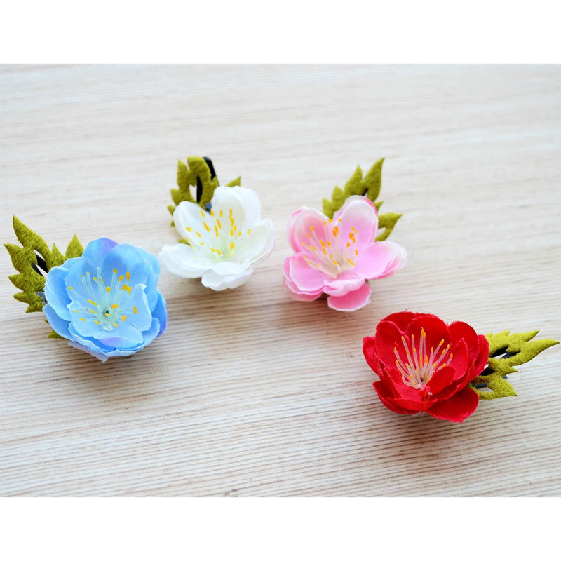 5 Sets of Pretty Floral Hair Accessories Pink Ribbon Flower Hair Clips Flower Hair Clips