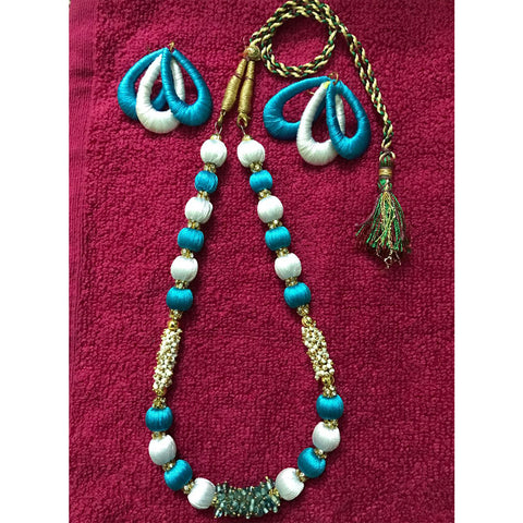 9798f727a20bd Handmade Blue Silk Thread Necklace And Earring Set