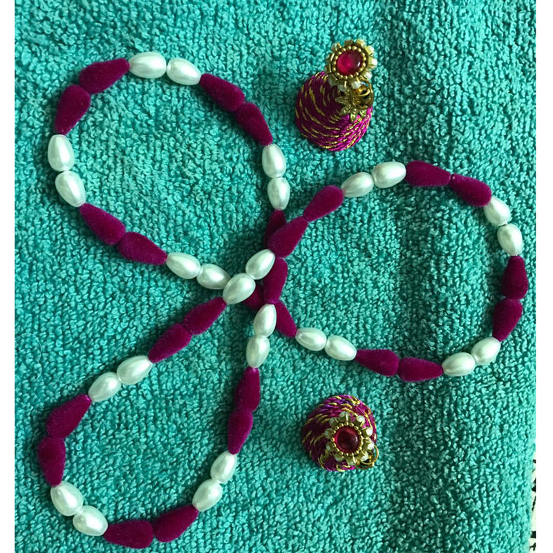 Handmade Magneta Silk Thread Necklace And Earring Set