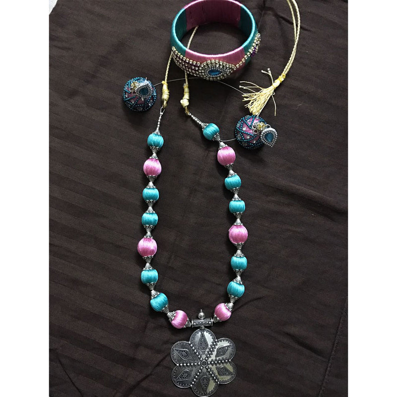 Blue Pink Silk Thread Necklace Bangle And Earring Set